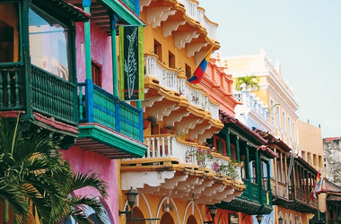 Bunte Häuser in Cartagena